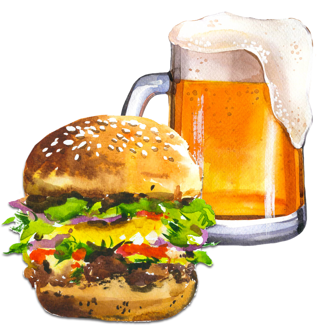 Burger and Beer Illustration